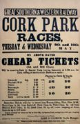 Cork Park Horse Races, Irish Railway Timetable Poster, Ireland